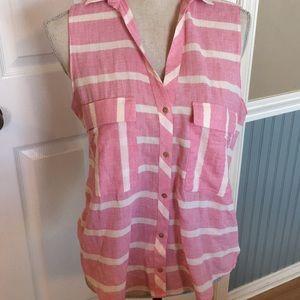 Woman's Zara Basic Sleeveless Pink and white top